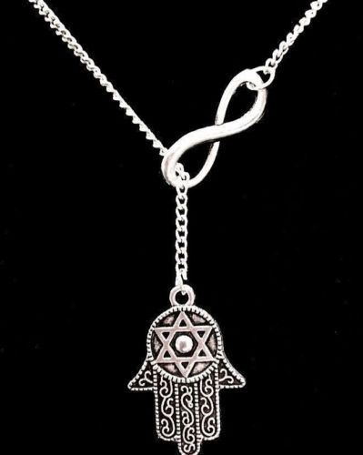 Evil Eye Hand of God Fatima Judaica Hamsa Kabbalah Charm Pendant Silver Necklace