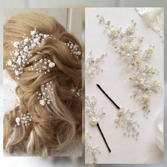 White bridal hair flower Ivory bridal headpiece Wedding hair Flower Wedding Hairpiece Wedding Hair Piece With Crystals Bridal Hair Jewelry #bridalhair