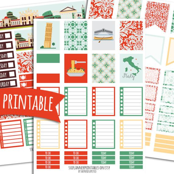 Italy PRINTABLE Planner Stickers for Erin Condren Vertical | Sticker Printables | Happy Planner Stickers | Glam Planning | Travel Stickers