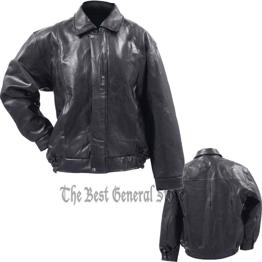 Mens Black Leather Bomber Jacket Flight Coat Aviator Style Lined Snaps #GiovanniNavarre #FlightBomber