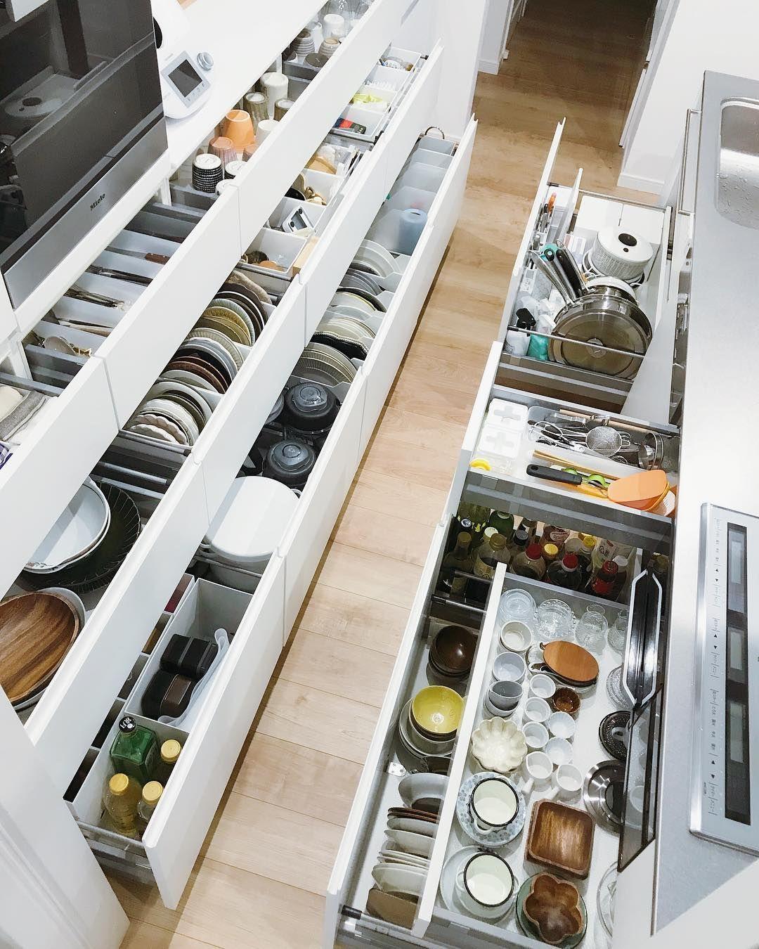 Lenghuanhuan On Instagram キッチン引き出し収納 今度ちゃんと写真撮ろう キッチン収納 オーダーキッチン キッチン 収納 引き出し キッチン 引き出し 食器 収納 引き出し