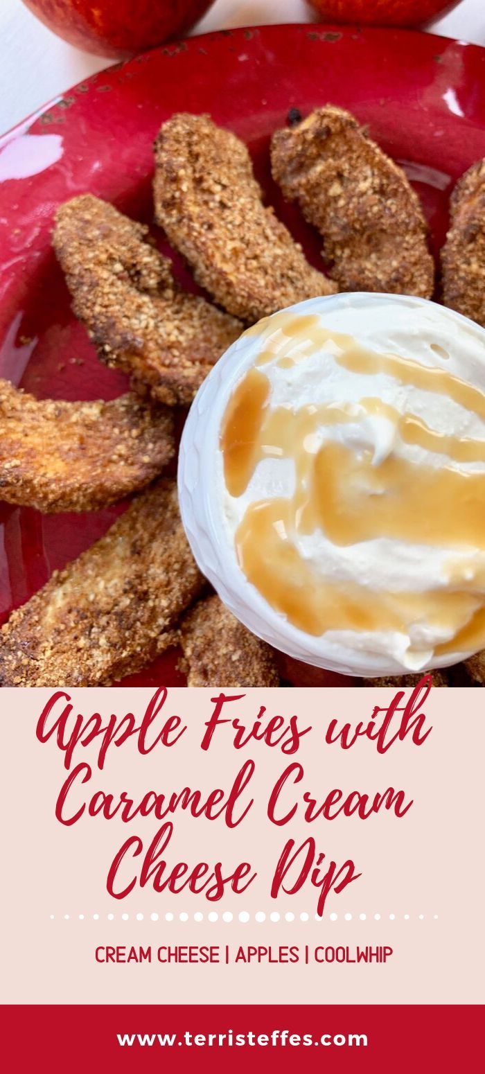 Air Fryer Apple Fries with Cream Cheese Dip Recipe in