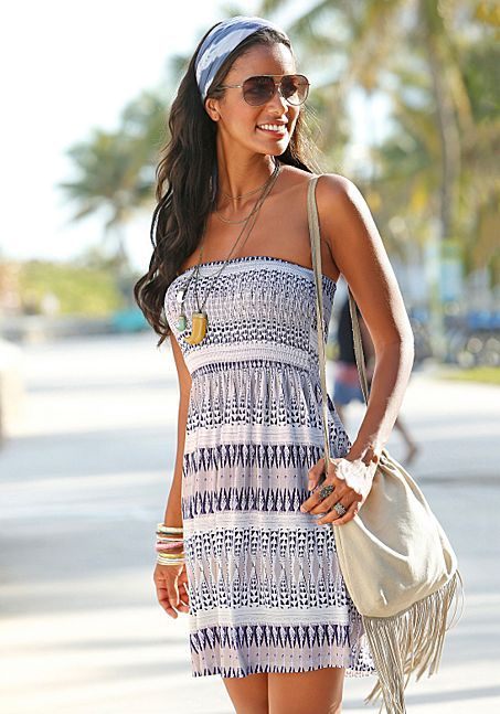 cc6570ce22 LASCANA Strapless Tube Top Bandeau Purple Aztec Print Mini Beach Dress -  Above Knee