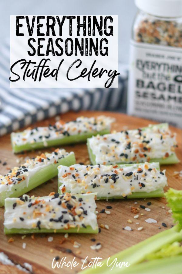 Everything Seasoning Stuffed Celery with Cream Cheese