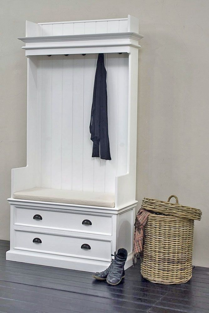 Captivating Rustic White Painted Hall Storage Unit And Bench | Hampshire Furniture