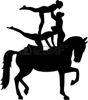 mujer cabalgando: Horse Vaulting of three women