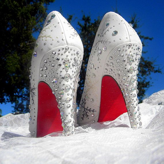 Wedding Shoes snowflakes  Winter Wedding Red Soles by norakaren, $285.00