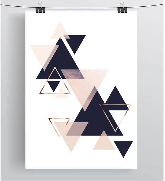 Wall Art Print, Digital Poster, Navy Blush Art, Copper Decor, Scandinavian Art, Geometric Printable, Modern Design, Triangles, Funky Art