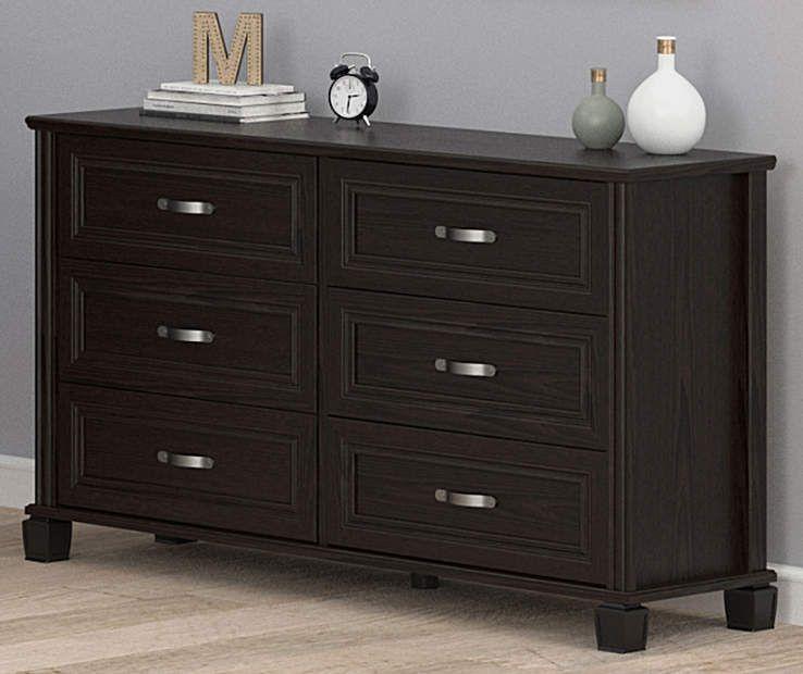 Ameriwood Andover Oak Espresso 6 Drawer Dresser Big Lots