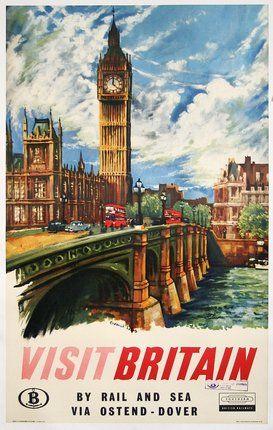 1950s Visit Britain Poster Vintage Travel Posters Travel Posters Vintage Posters