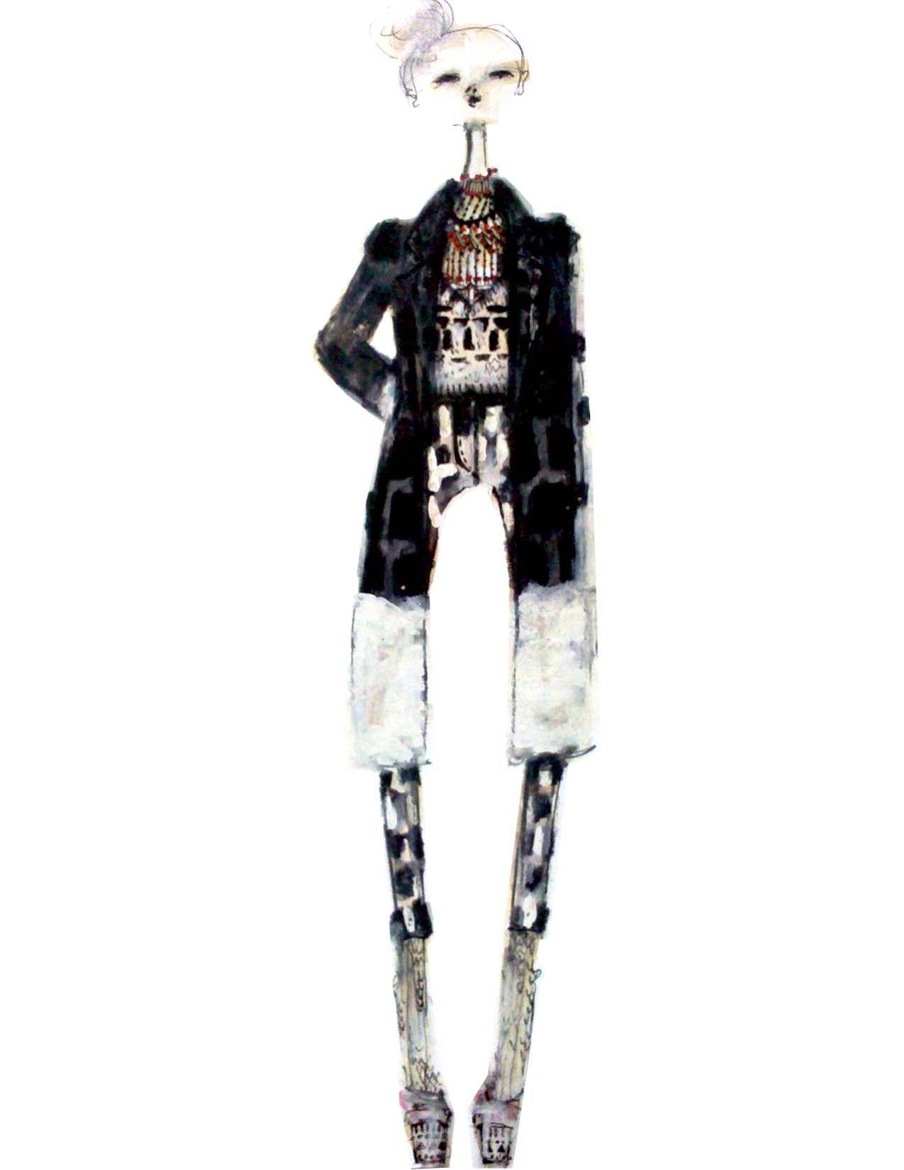 amanda henderson knits / illustration in mixed media
