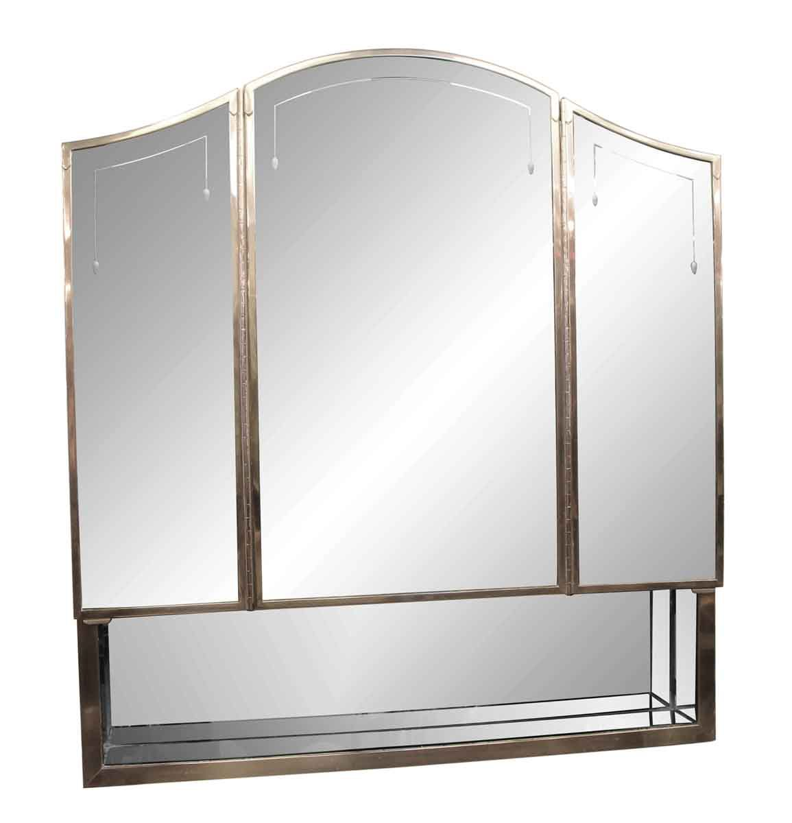 Salvaged waldorf art deco triple mirror medicine cabinet bathroom