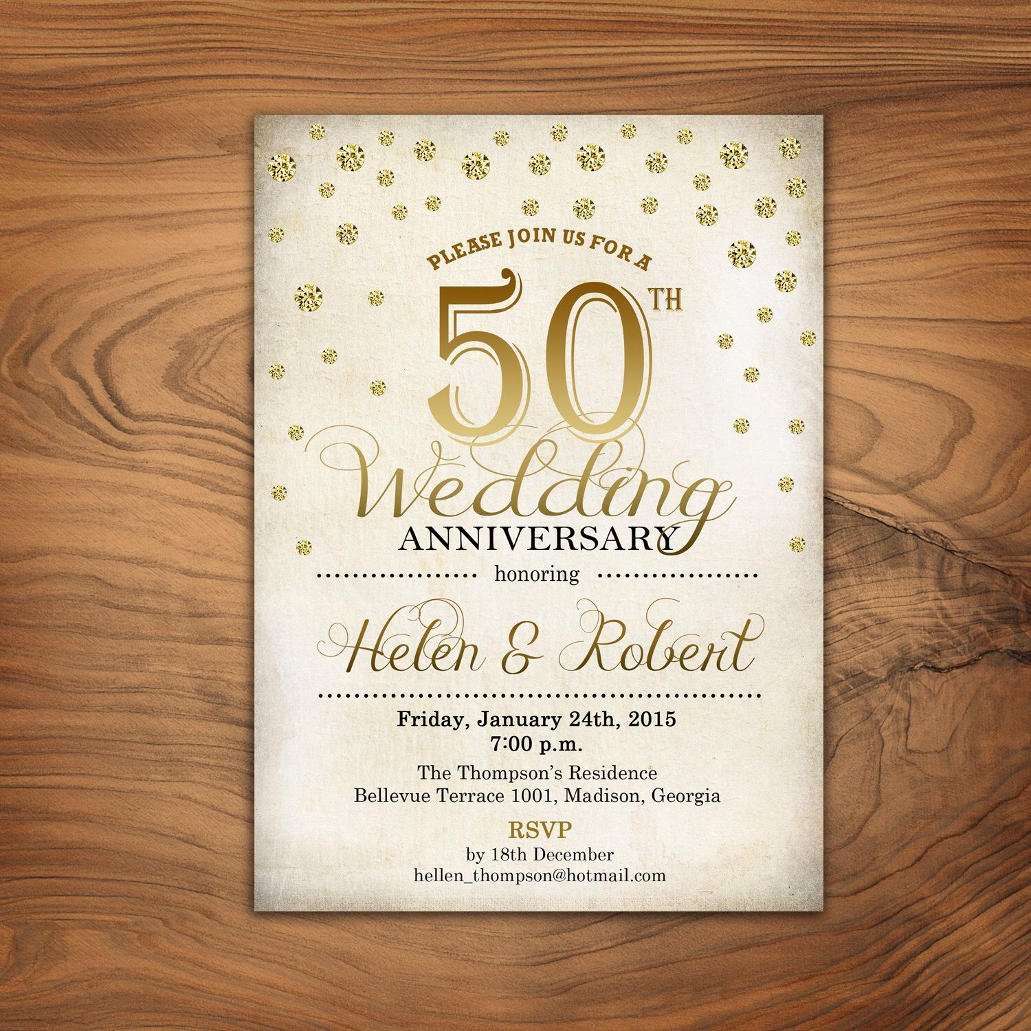 Th Wedding Anniversary Invitation  Gold  White  Retro