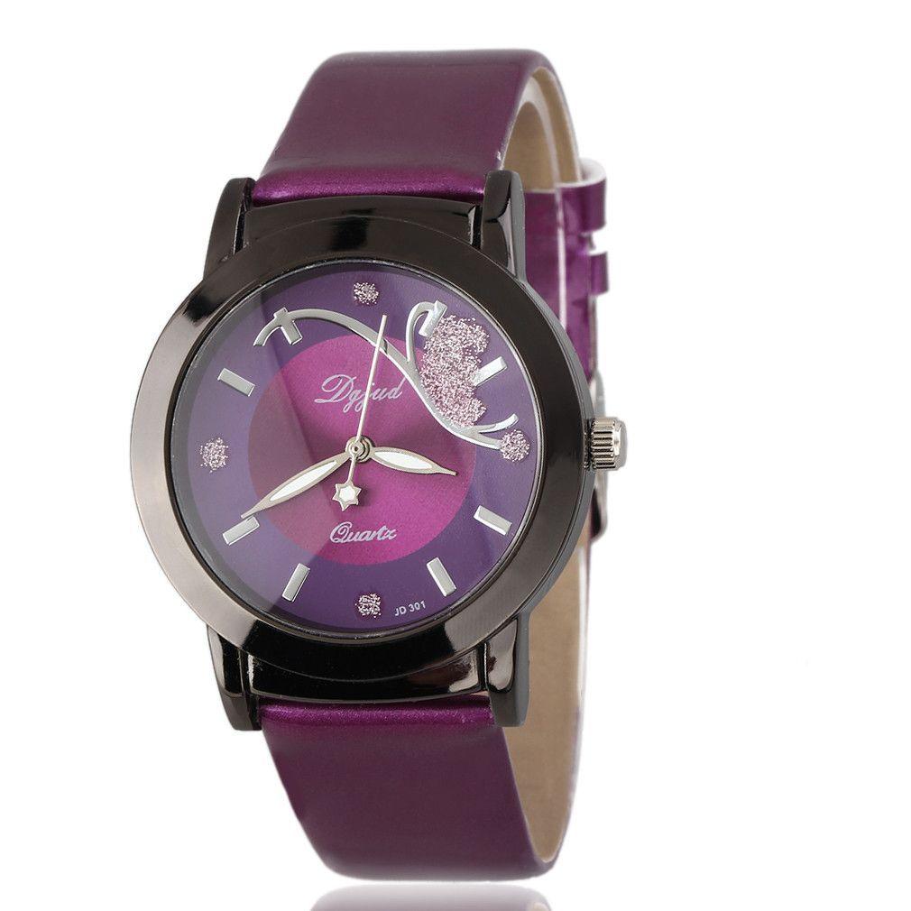 Luxury Exquisite Crystal Leather Strap Wristwatches Casual Analog Quartz Dress Watches Relogio Feminino