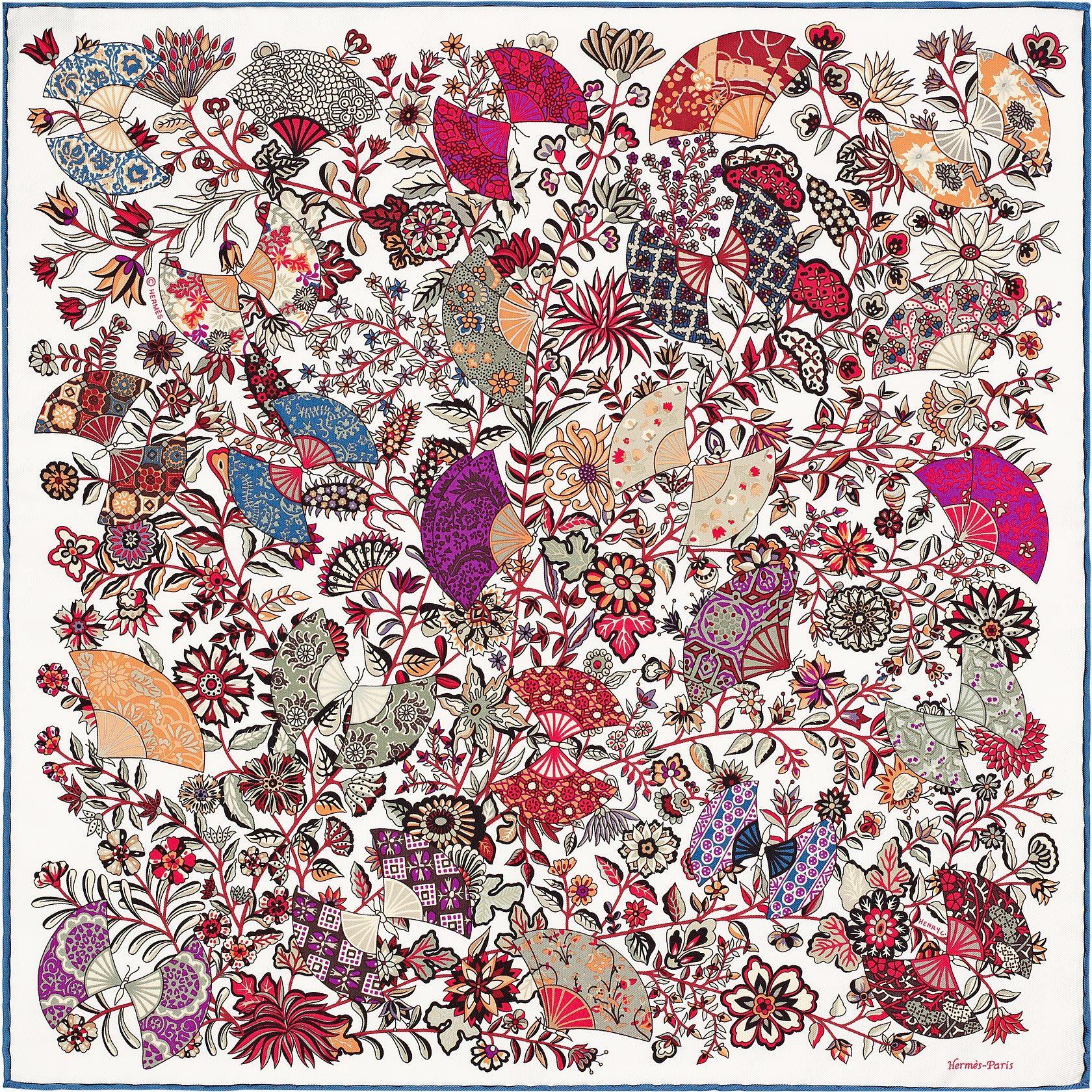 """16""""x16"""" pocket square Hermès   Fleurs et Papillons de Tissus. Hermès -  Fleurs et Papillons de Tissus by Christine Henry - Gavroche en twill de soie 1acc5c693f6"""