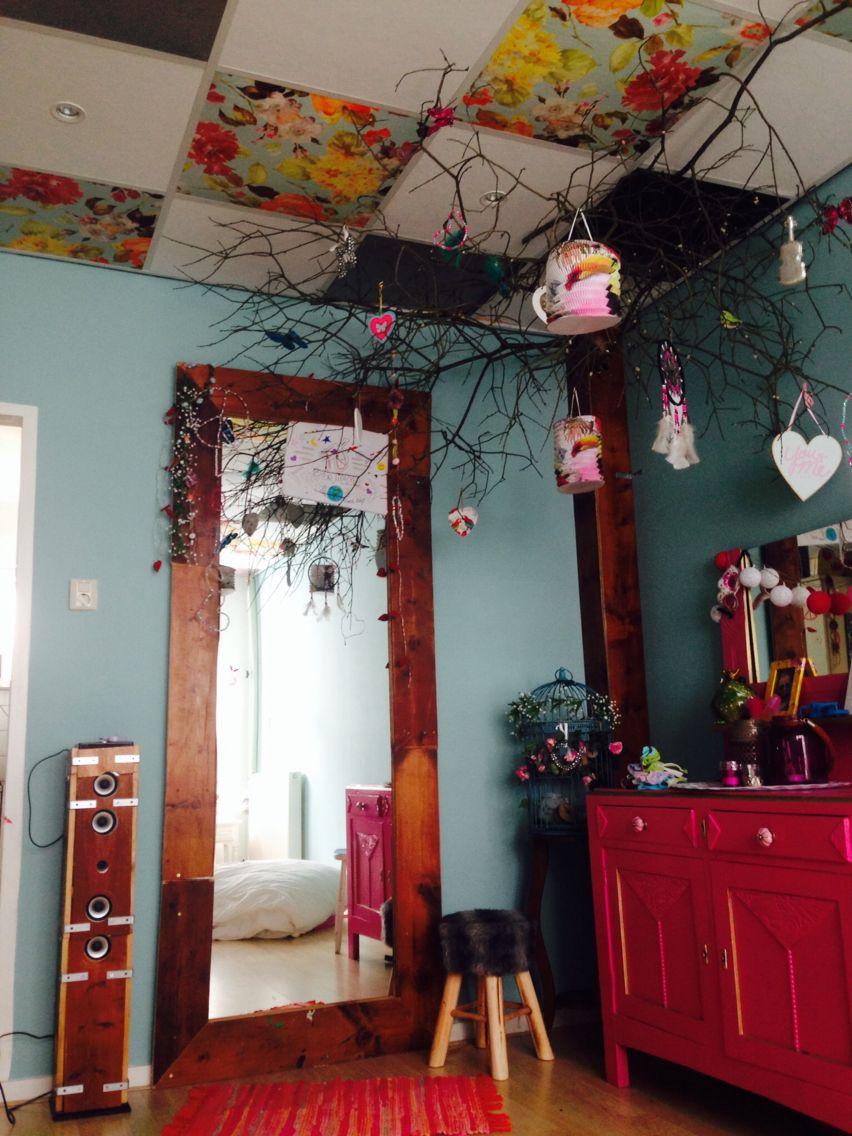 systeemplafond oppimpen door gebruik van oude gordijnen