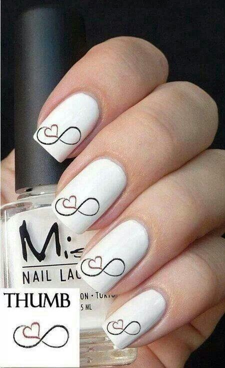 Infinity love design on white nails | Nail Art Gallery | Pinterest ...