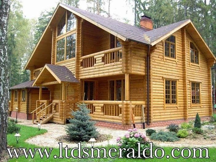 Casa prefabbricata in legno, tronchi rotondi,stile selvaggio, diametro 30cm. La casa non richiede nessun tipo di coibentazione. www.ltdsmeraldo.com