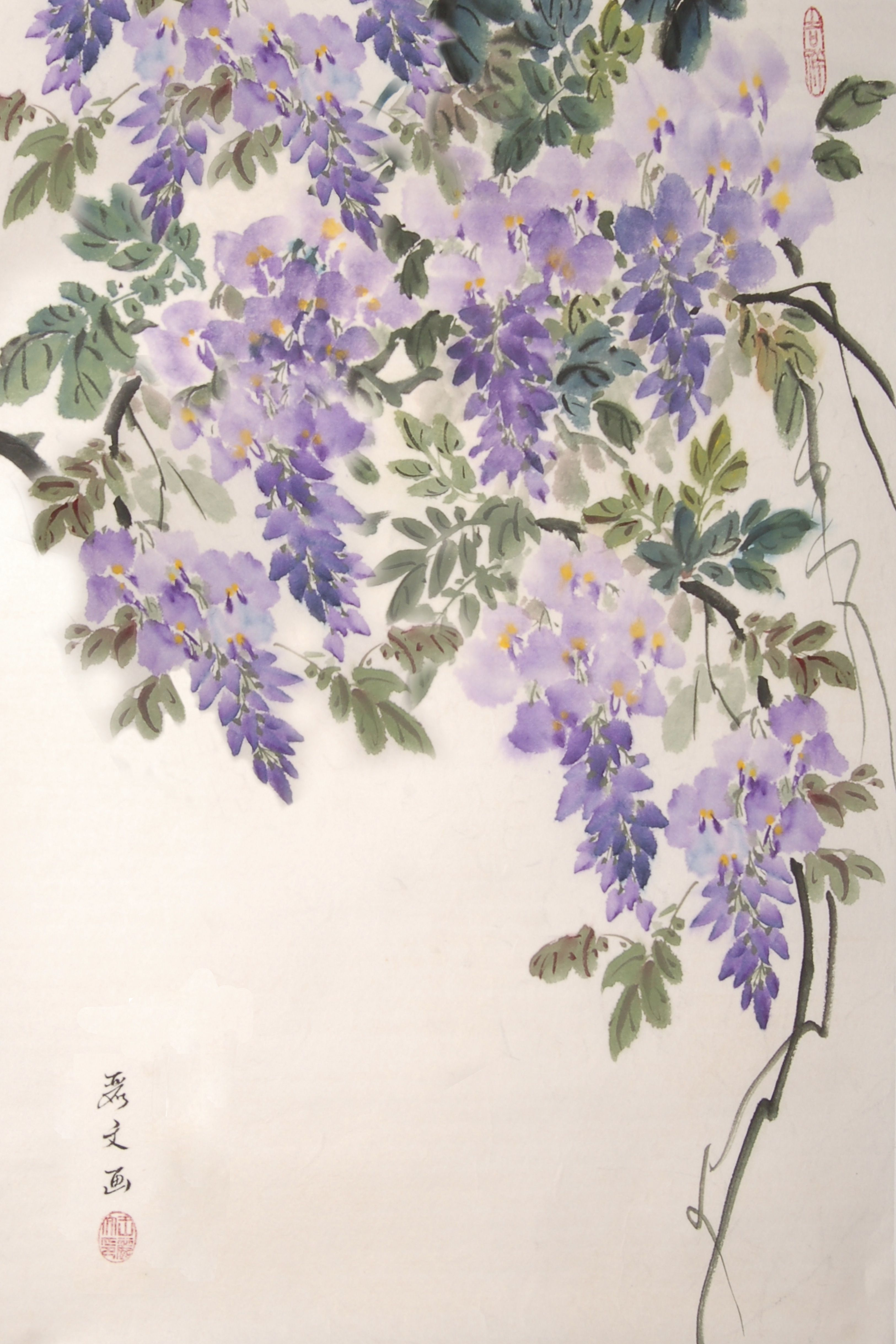 Challenge Yourself With A Different Style Of Painting In Our New Class Chinese Brush Painting Wisteria By Inst Flower Painting Japanese Painting Flower Art