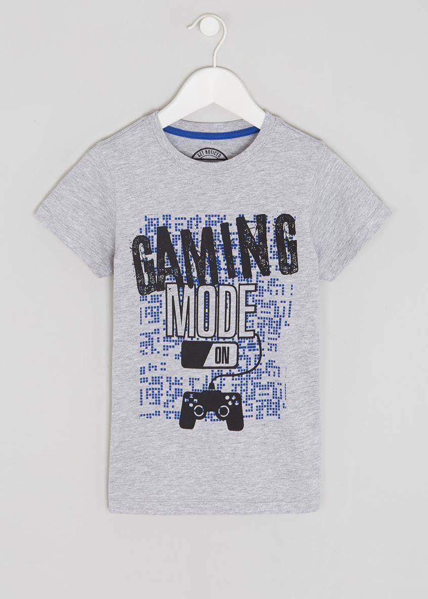 19ea16c48622 Boys Gaming Slogan T-Shirt (4-13yrs) – Grey | Inspiration to work ...