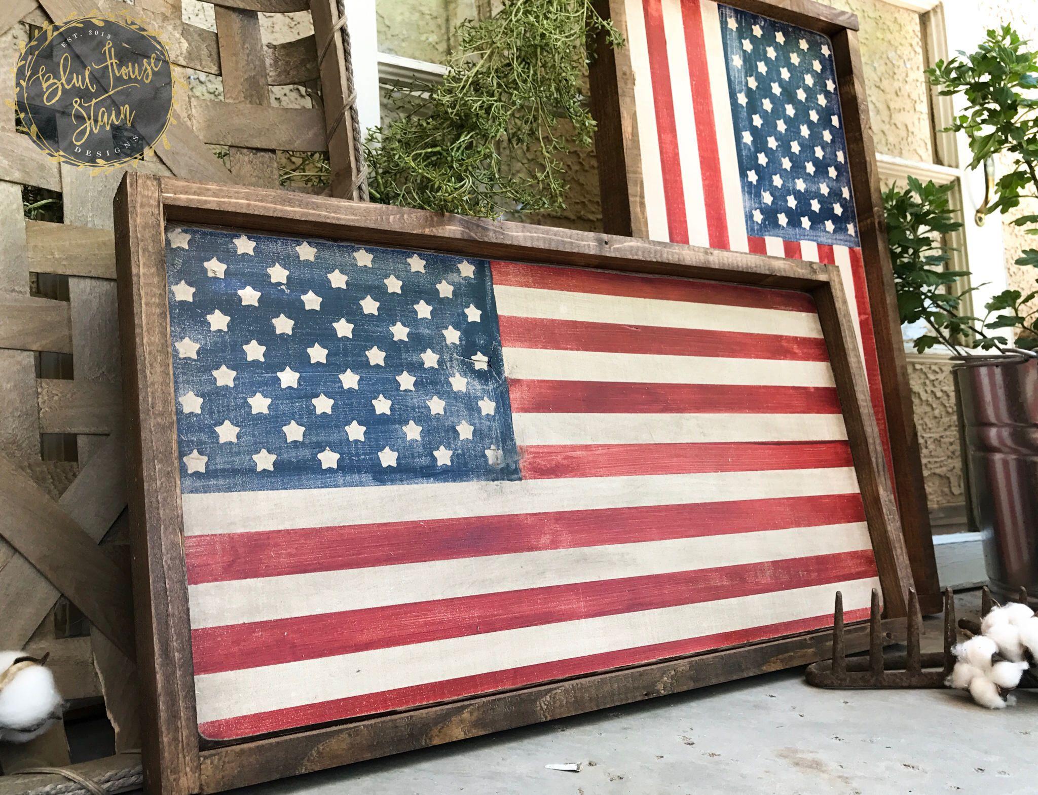 wood sign, farm house decor, Wood American Flag, Framed American ...