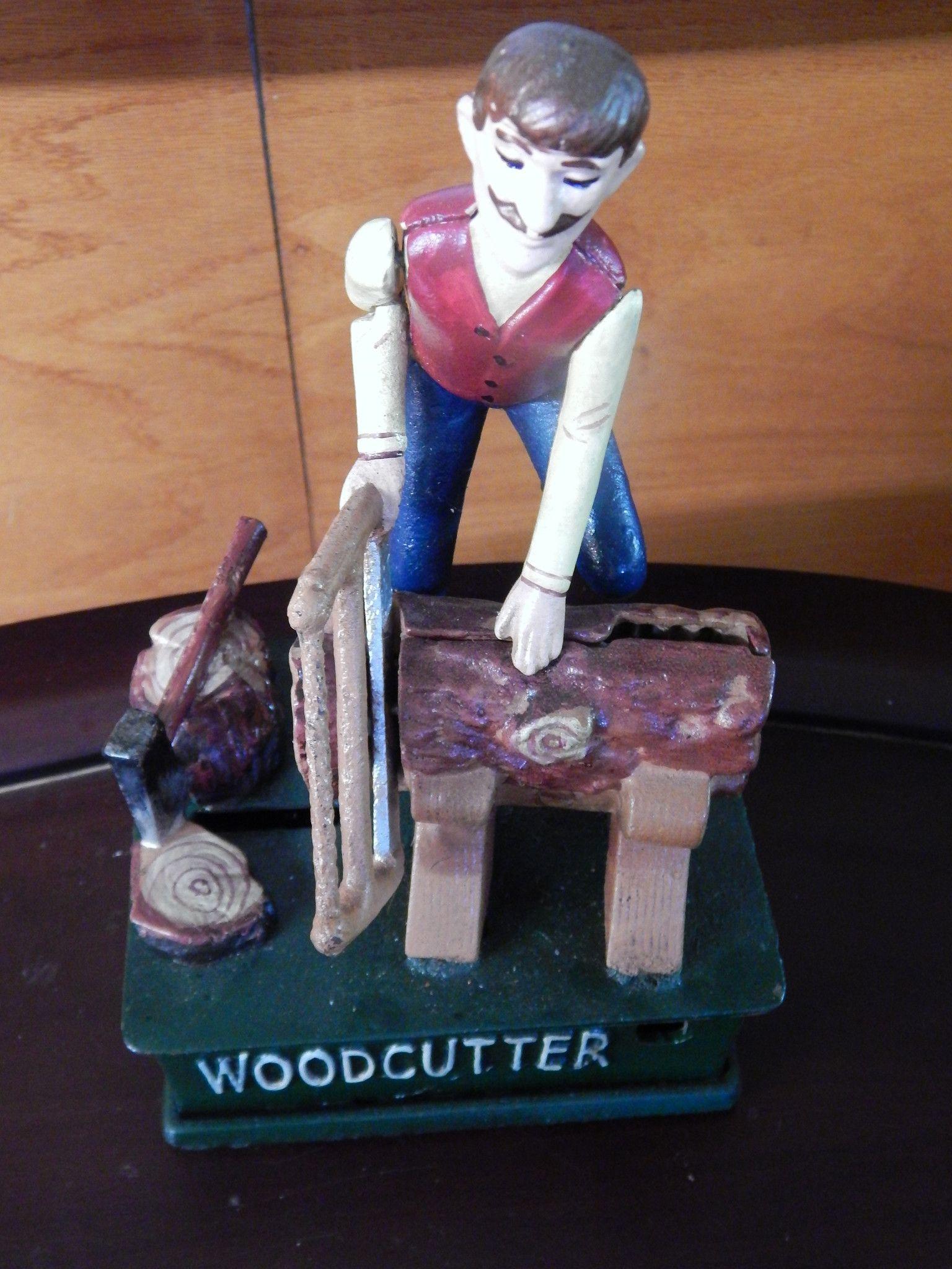 Wood Cutter Mechanical Coin Bank