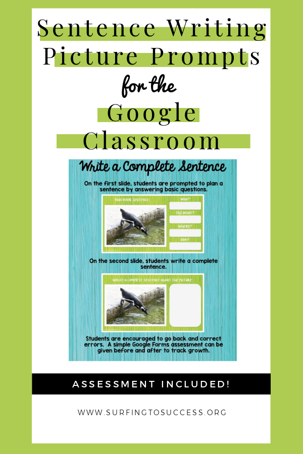 BUNDLE: Respond to a Picture Prompt Sentence Writing for the Google Classroom - Surfing to