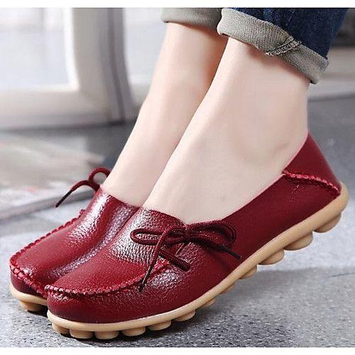 Mujer Zapatos Cuero de Napa Primavera Otoño Confort Bailarina Zapatos de  taco bajo y Slip-On Tacón Plano Dedo redondo para Casual Negro 2018 -   229.98 e353df5ef415