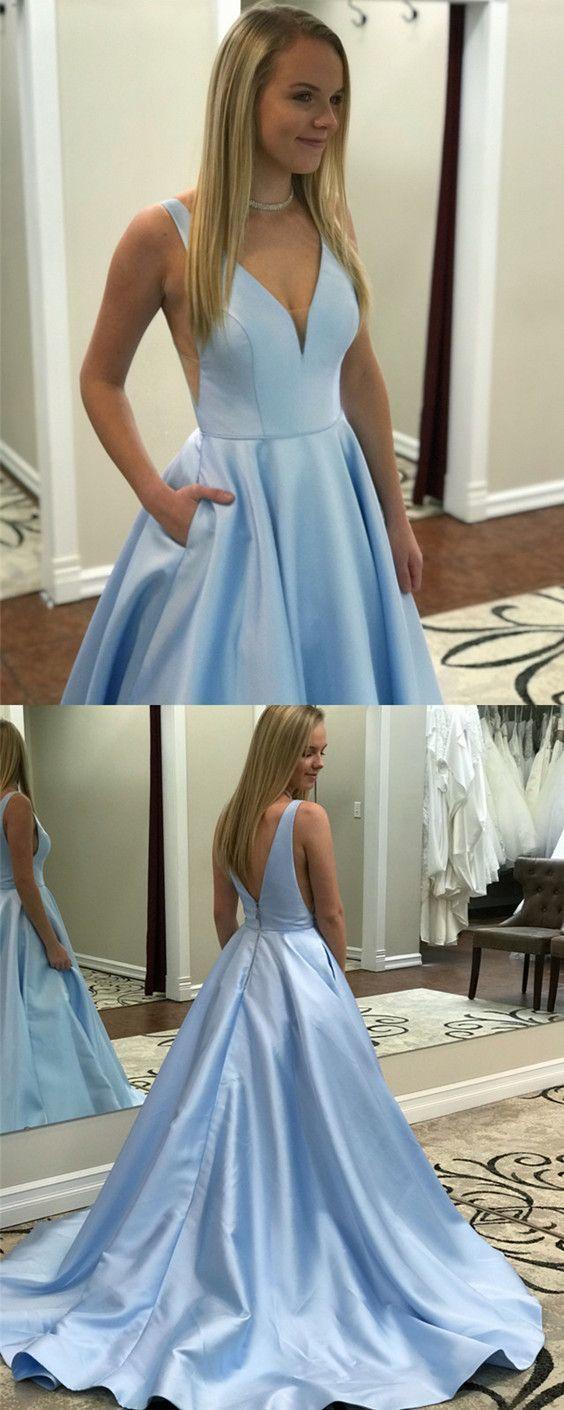 Chic Baby Blue Satin V Neck Satin Prom Dresses Long