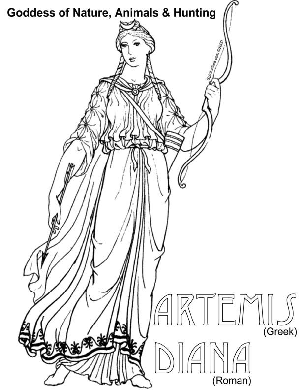 Artemis Diana Archetypes Coloring Pages New Gods