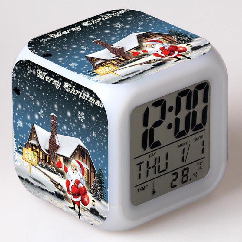 Christmas Santa Figurine Alarm Clock LED Colorful Touch light New ...