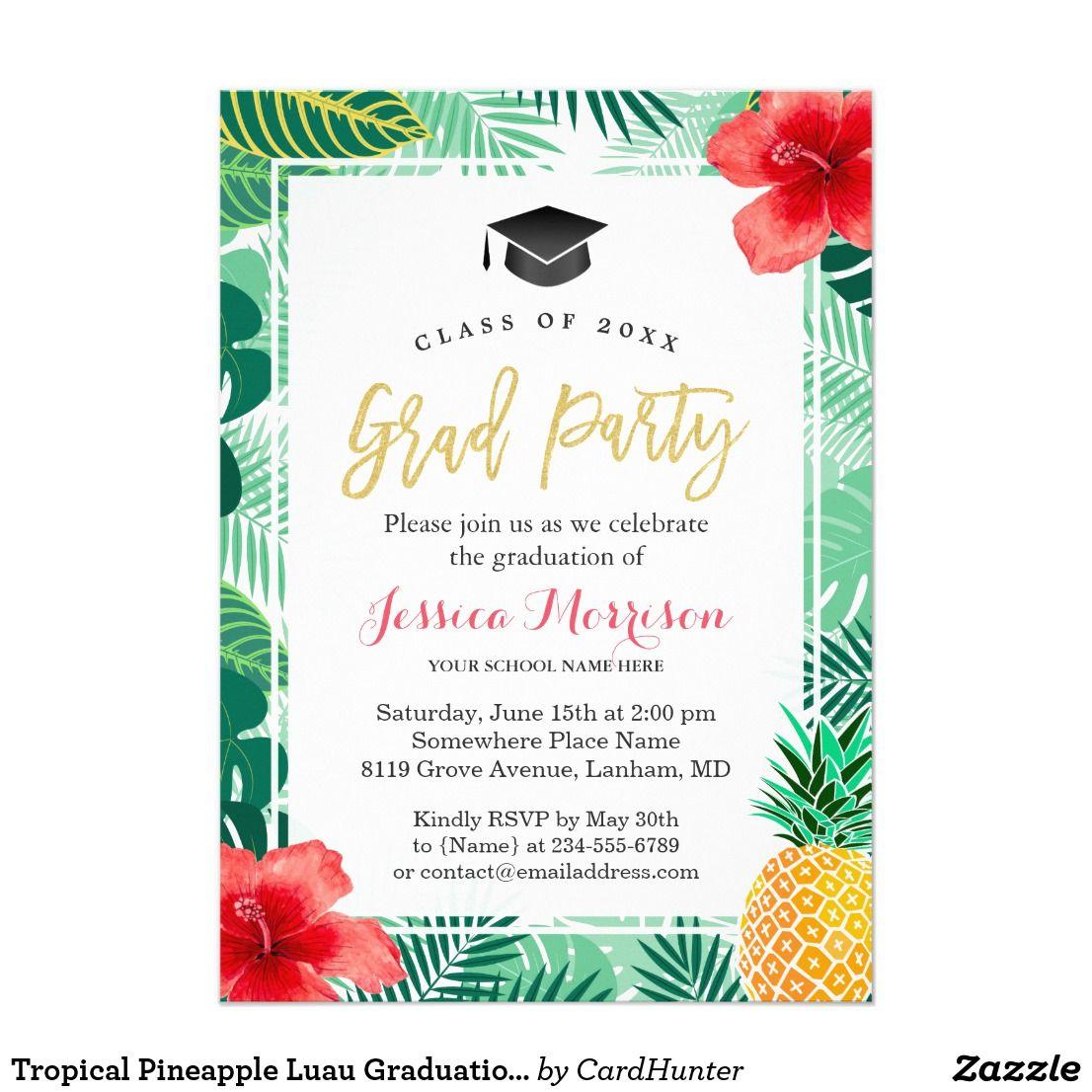 Tropical Pineapple Luau Graduation Party Card Graduation Party