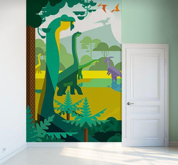Papel decorativo con dinosaurios para dormitorios niños, tema Jurassic World