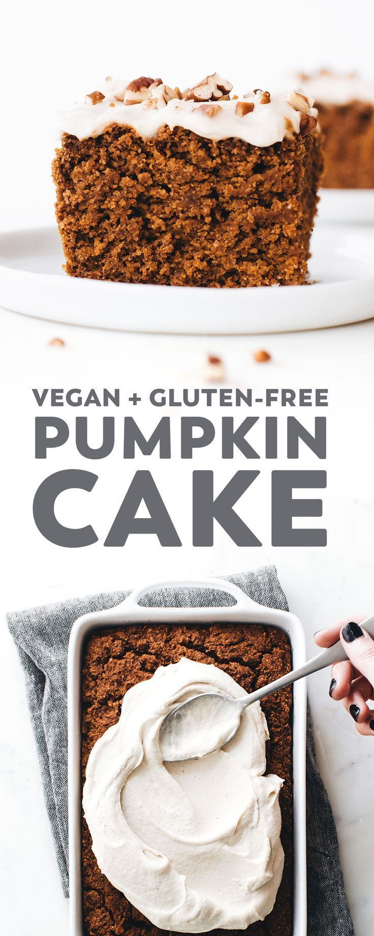 Pumpkin Cake The Vegan Pumpkin Cake of your fall baking dreams! Fluffy, moist, deliciously spiced, and easy to make. You'd never guess it's gluten and oil free too!The Vegan Pumpkin Cake of your fall baking dreams! Fluffy, moist, deliciously spiced, and easy to make. You'd never guess it's gluten and oil free too!