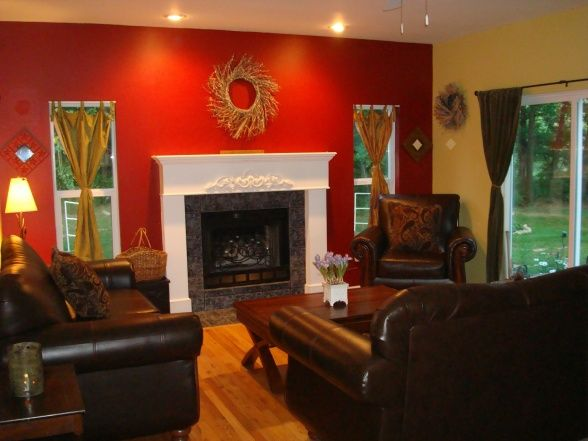 Red Yellow Living Room The Wall Decorations And Curtains But Love Furniture With Walls