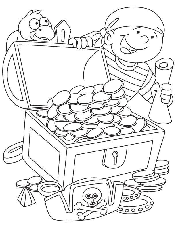 Pirate Got Treasure Chest Coloring Page Piraten Feestje Kleurplaten Piraten