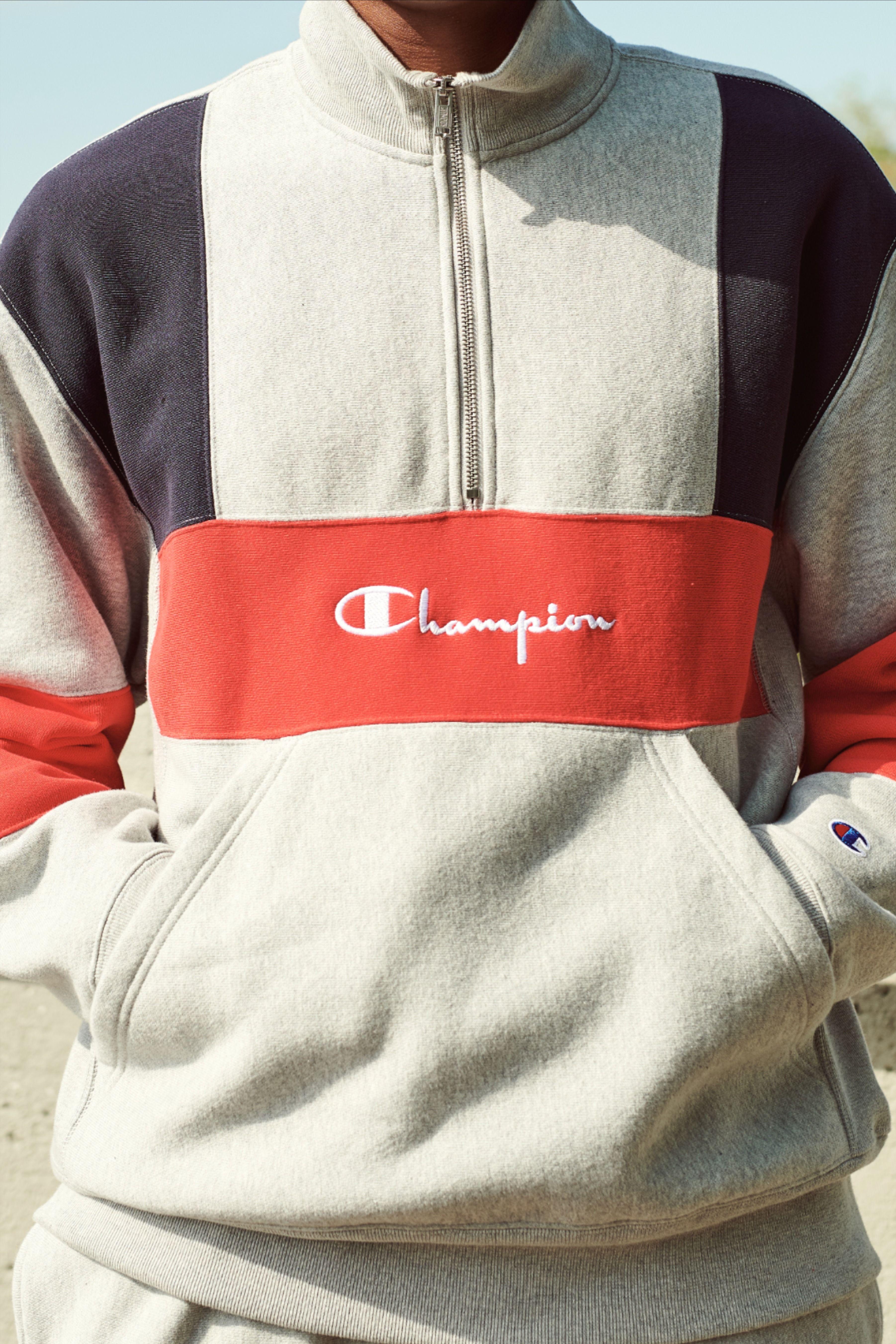 Champion Life Men S Reverse Weave Colorblock Half Zip Sweatshirt Half Zip Sweatshirt Sweatshirts Champion Clothing [ 5405 x 3604 Pixel ]