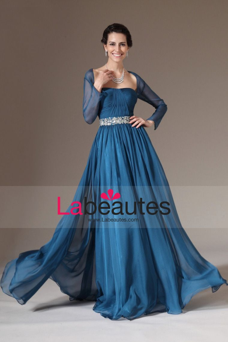 Mother Of The Bride Dresses Strapless Pelate Bodice Beaded Waistband A Line Chiffon