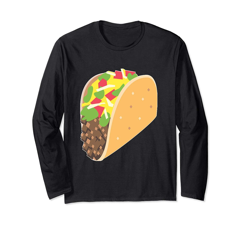 Emoji Taco Tuesday Mexican Tex-Mex Tortilla Emoticon Texting Long Sleeve T-Shirt #tacotuesdayhumor
