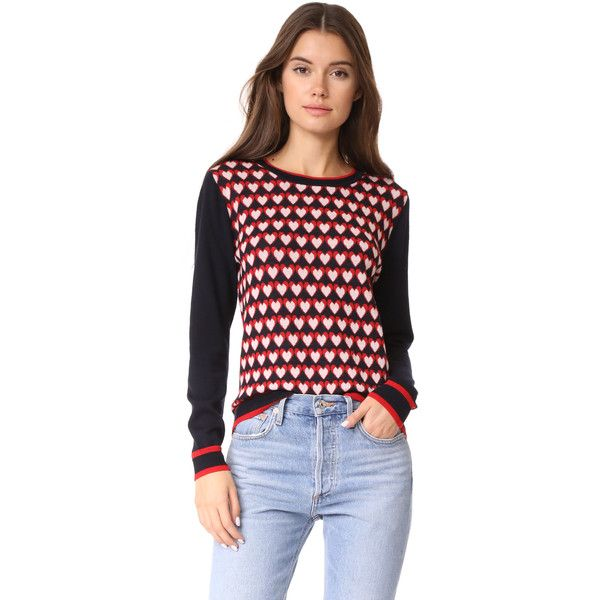 Chinti and Parker Heart Jacquard Sweater (£295) ❤ liked on Polyvore featuring tops, sweaters, heart print top, chinti and parker, heart sweater, chinti and parker sweater and intarsia sweater