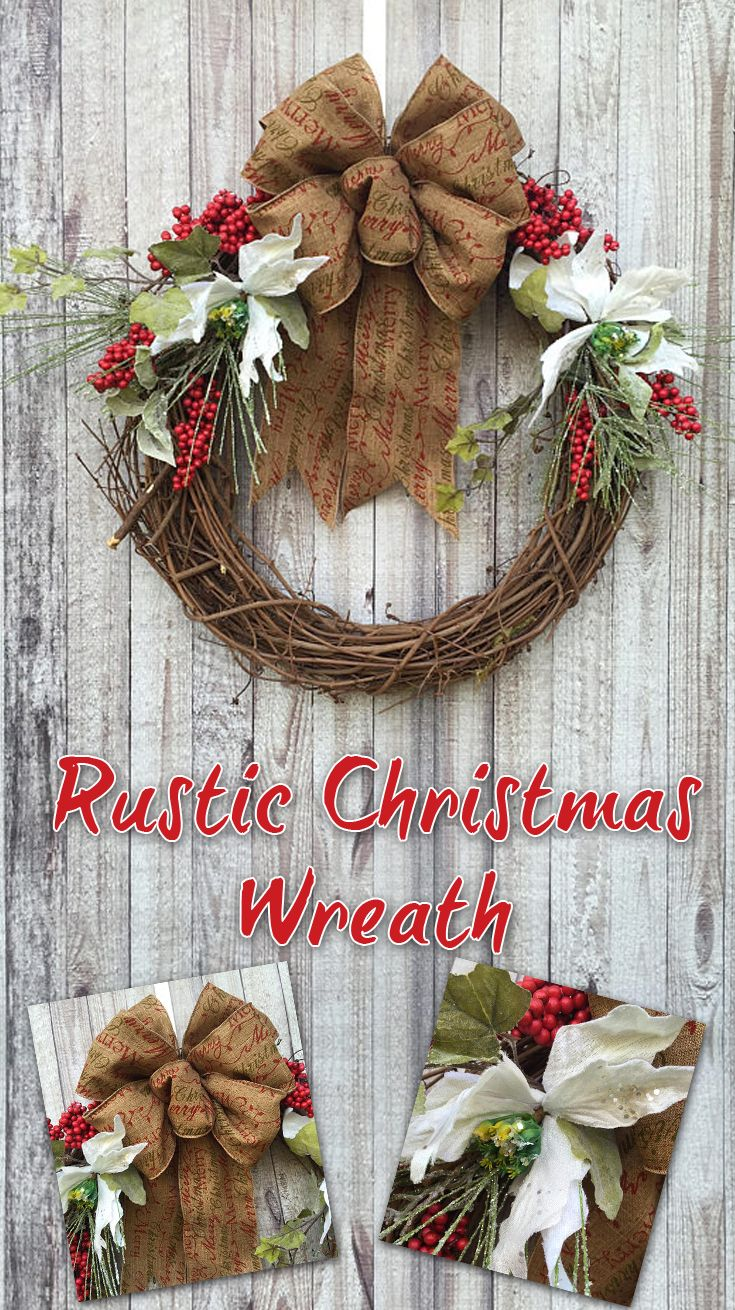 Primitive Christmas Berry And Poinsettia Wreath Rustic Door Decoration Affiliate
