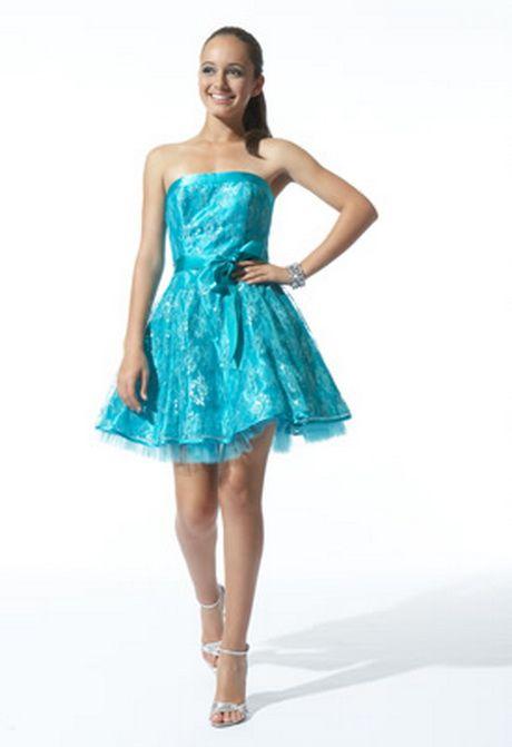 Vestidos de 15 azul turquesa cortos