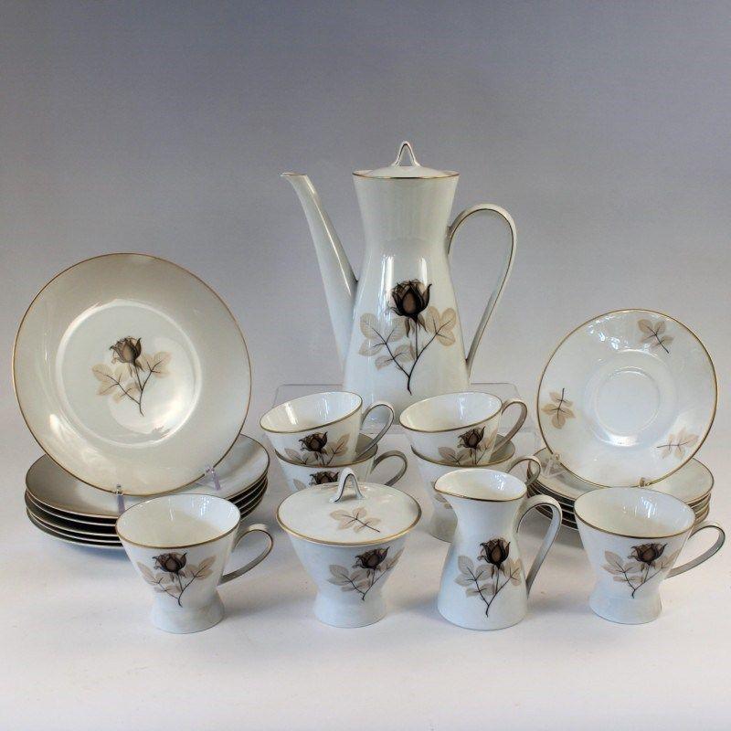 rosenthal kaffeeservice gr ne marke nach 1957 form 2000 entwurf raymond loewy dekor braune