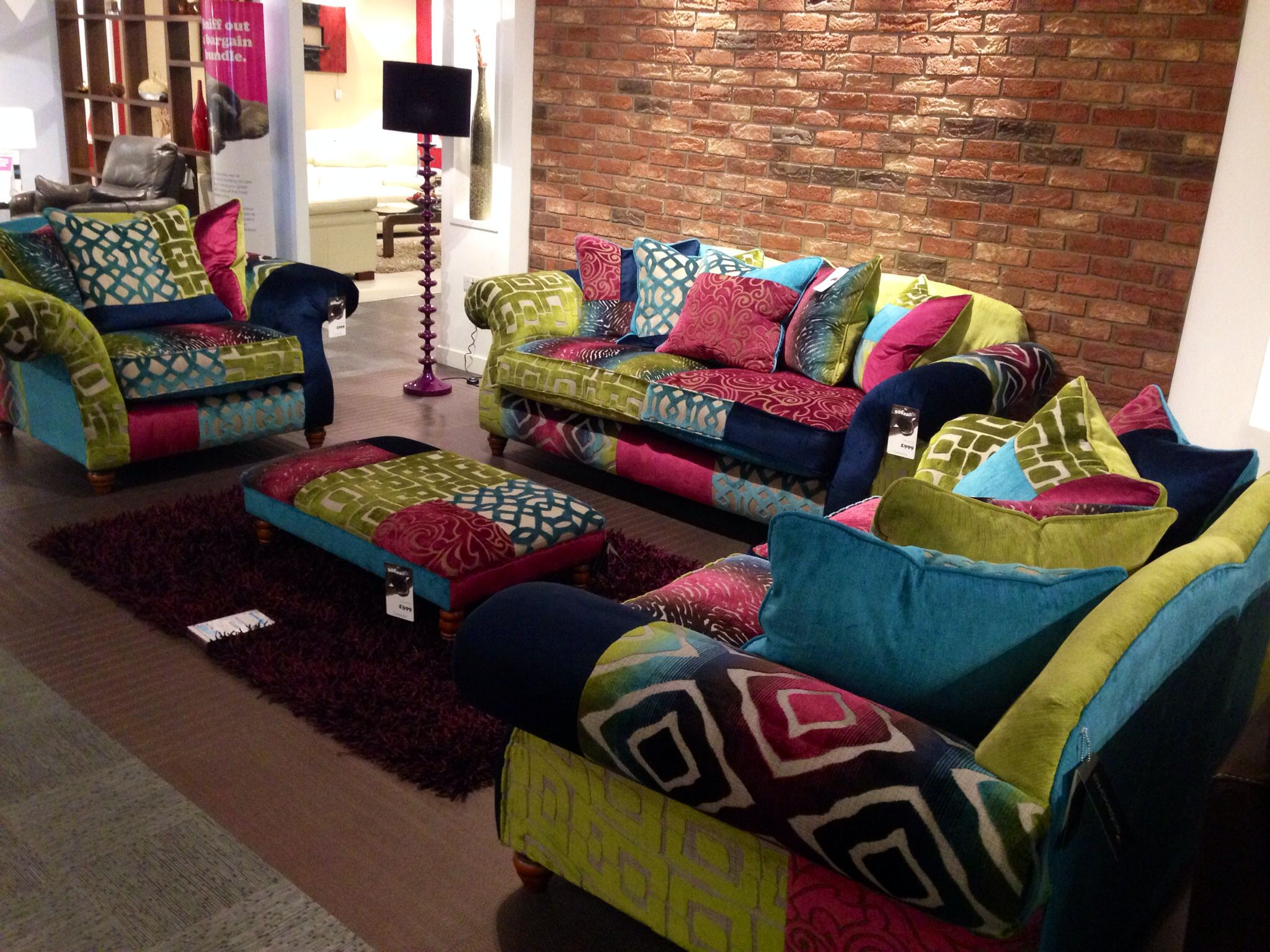 Love multicoloured sofas u chairs IdeasuThings for the home
