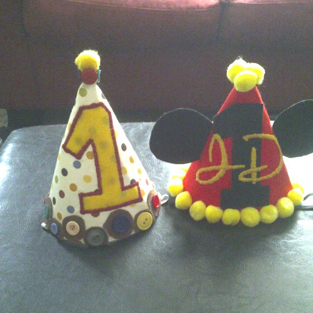 Birthday hats, my friend made these. Ashlee's adorable alley.