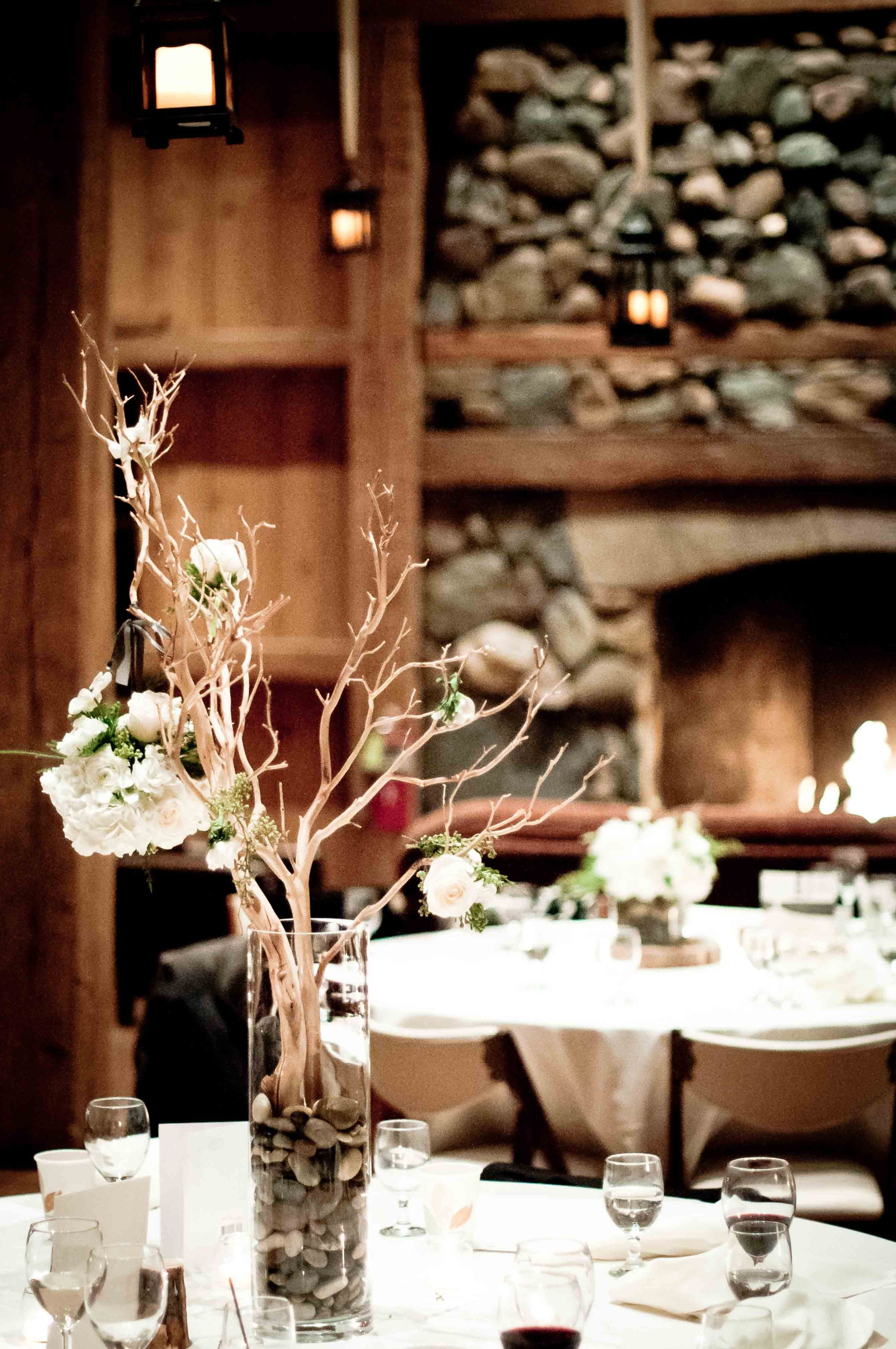 Rustic centerpiece perfect for winter wedding or mountain retreat