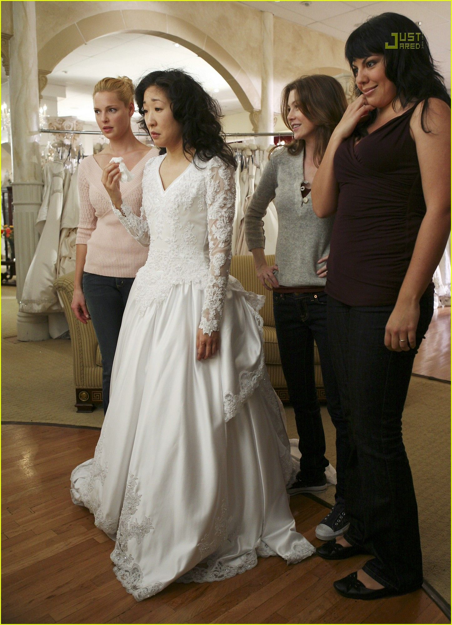 Cristina Yang (Sandra Oh) in wedding dress rehearsal. Bridesmaids ...