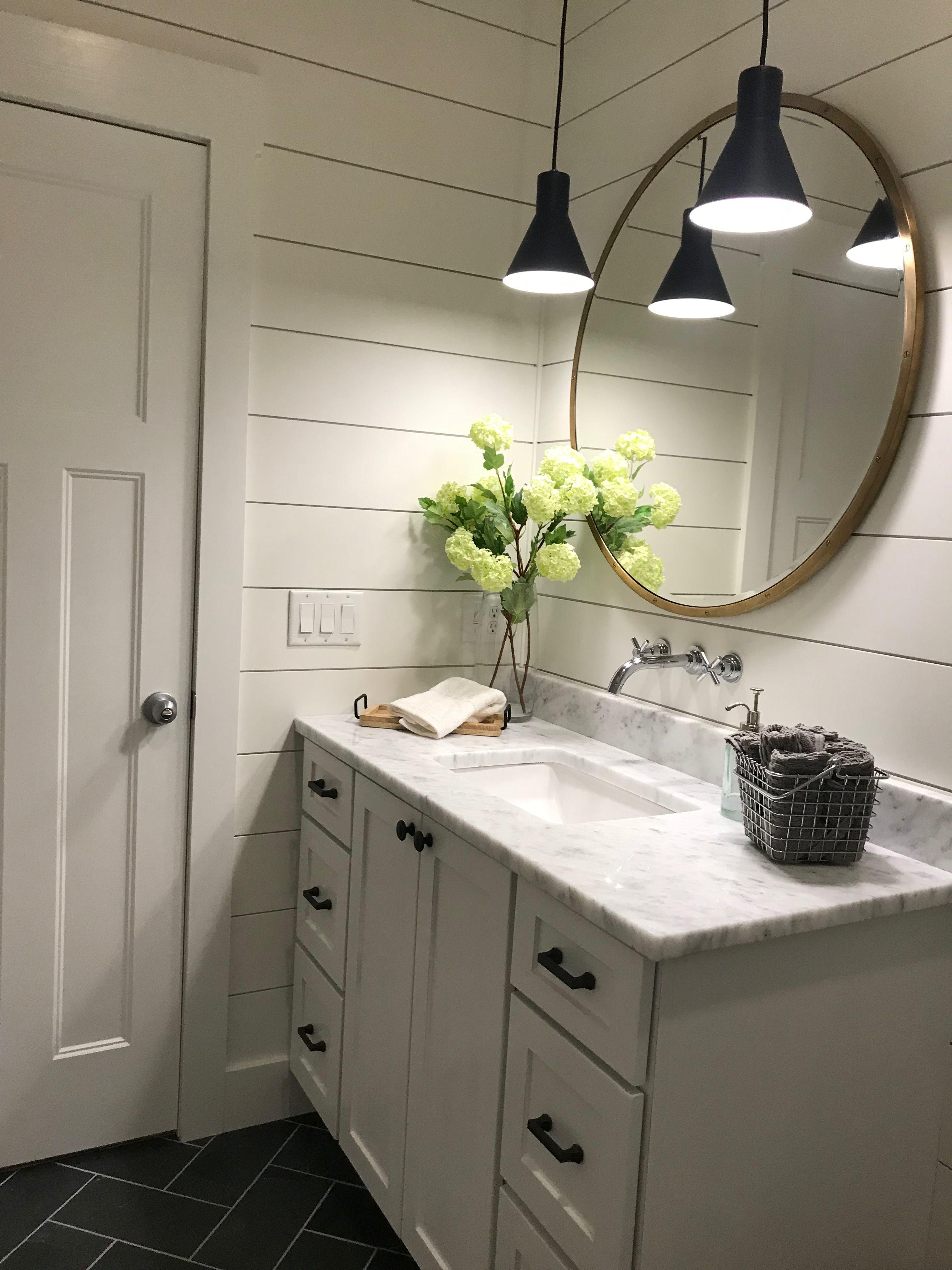 Shiplap Modern Farmhouse Round Mirror Brass Cottage Bathroom Design Ideas Small Bathroom Remodel Cottage Bathroom