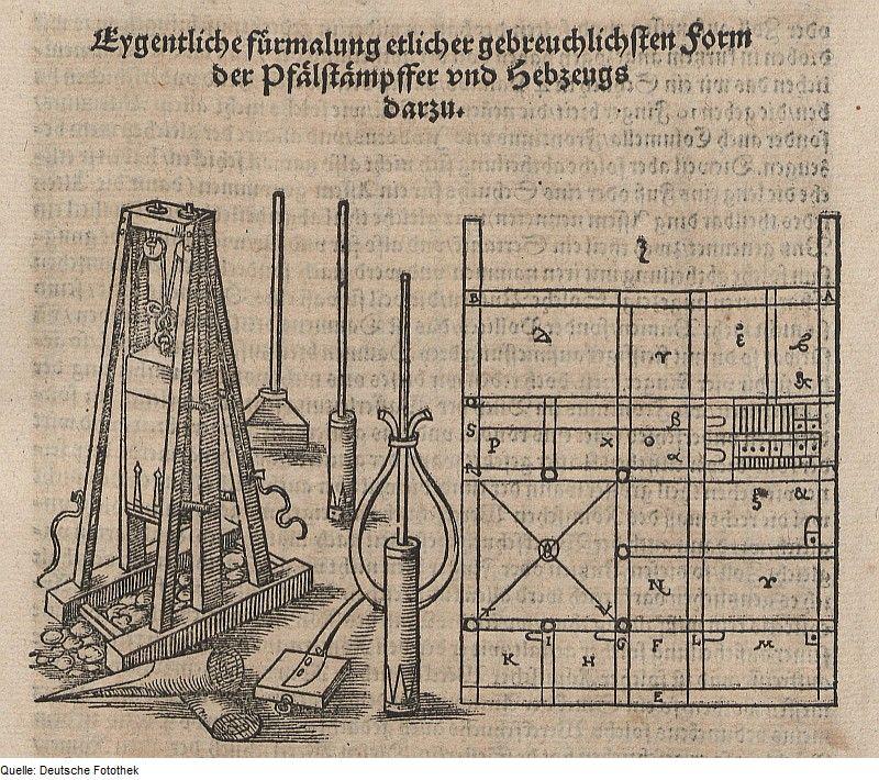 Pfahlramme Und Grundriss Original Caption Original Image Description From  The Deutsche Fotothek Bauwesen U0026 Werkzeug Author