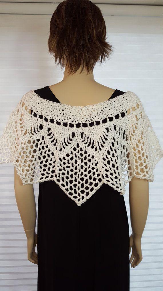 Crochet Poncho, Crochet Shawl, Crochet Shrug, Bridal Shawl, Wedding ...
